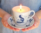 Teacup Soy Candle with Matching Saucer - White with Charming Blue Pattern