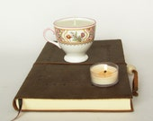 Adorable White Footed Teacup Soy Candle with Pink Flowers