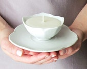 White Lotus Flower Soy Candle with Matching Saucer