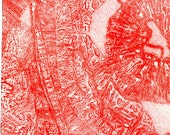 Red original fine art hand pulled print - From Here to Where