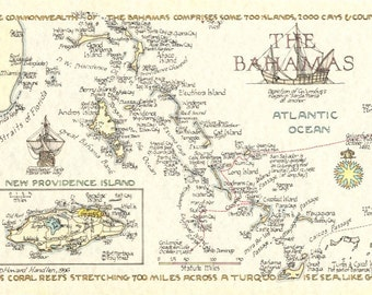 Bahamas Map in Two Sizes