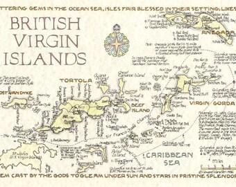 Tortola Etsy - British virgin islands map