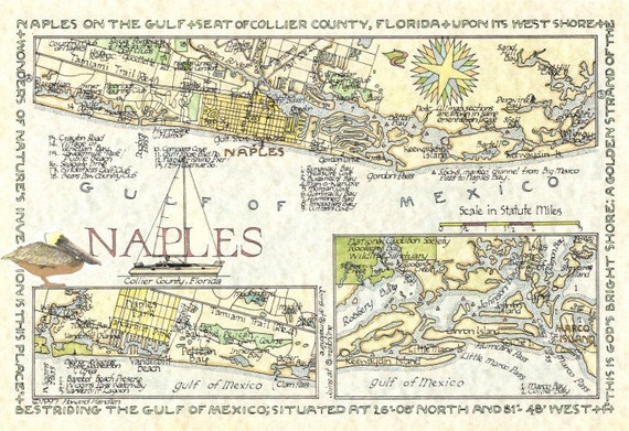 Naples florida map in two sizes for Craft stores naples fl