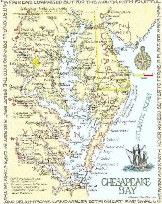 Chesapeake bay area two sizes for Chesapeake bay fishing map