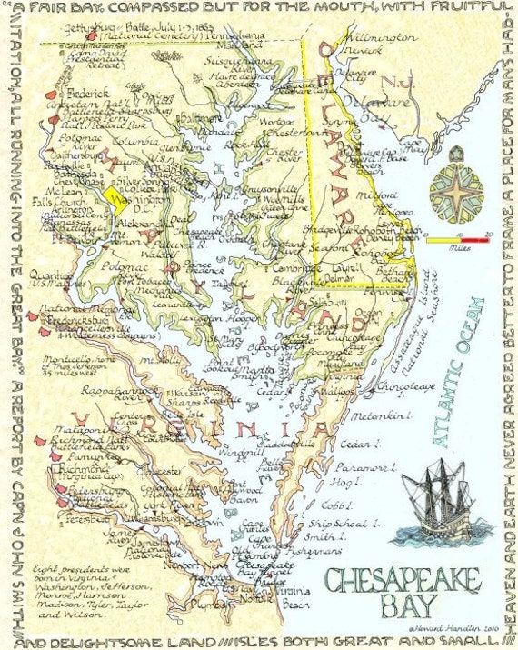 Chesapeake Bay Area Two Sizes By Neoclassicalmaps On Etsy
