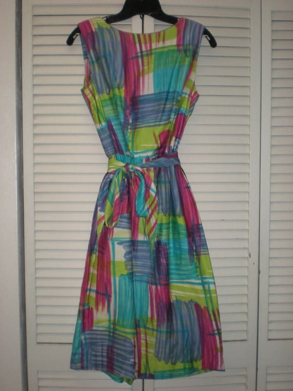 50s/60s Bright Plaid Bombshell Shift Dress- S/M