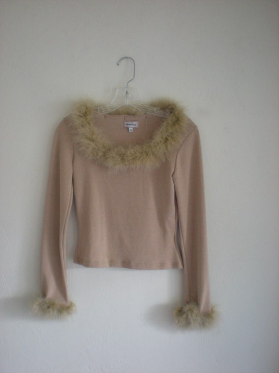 90s Feather Trim Beige Blouse- Clueless- XS/S