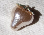 Pearl Strawberry Brooch, 1950's signed JJ