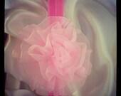 Sweet Pink Chiffon Rosette Flower Headband