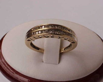 "Estate Art Deco 10K YG 26 Diamonds "" I love you"" Wedding Ring Band, 1950's"