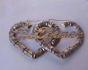 """Vintage  Huge   Sterling Silver """"Ebonee""""   Eearrings, 1970's"""