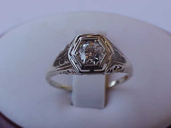 Incredible works of Art ,Antique Unique Art Deco  14K 2-Tone Gold  Filigree  Ring: .50ct Old European Cut  Diamond,1900s