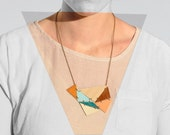 triangle array necklace: leather and wood