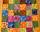 RESERVED Rainbow of India : Natural Dyed and Handpainted Batik Fabric, Silk Tie-Dye Quilt with Original Designs