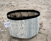 Organic Canvas and Recycled Raincoat Travel Dog Bowl with Hand Printed Blue Woodgrain