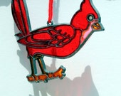 Vintage Suncatcher, Red Cardinal Song Bird Stained Glass Christmas Ornament Decoration, Holiday Window Decor