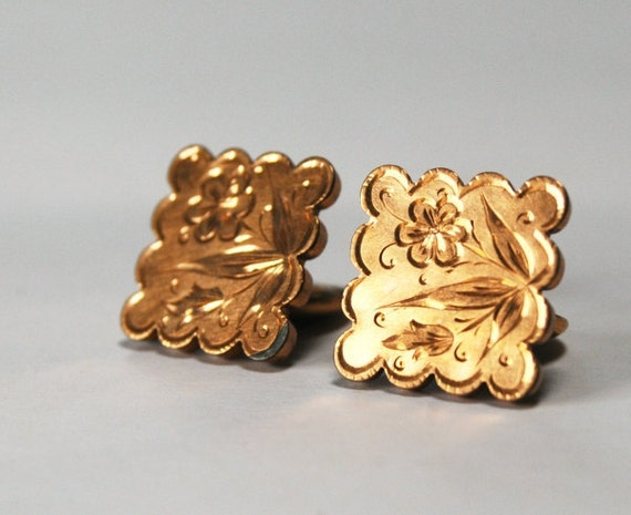 Ladies Gold Cuff Links, Vintage Square Etched Floral Design Cufflink Accessories, Patent Date 1880