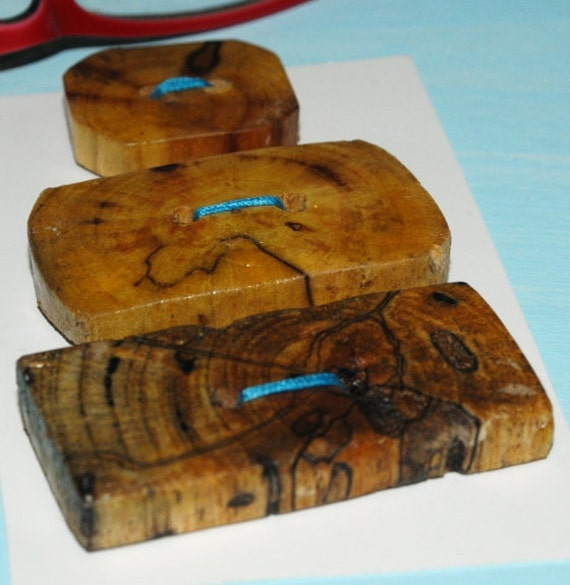 CIJ SALE: Rectangle Drift Wood Buttons, Three Handmade Driftwood Wooden Buttons Christmas in July