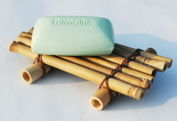 Reclaimed Wood Bamboo Soap Tray, Kitchen or Bath Soap Dish, Tropical Coastal Bathroom Home Decor