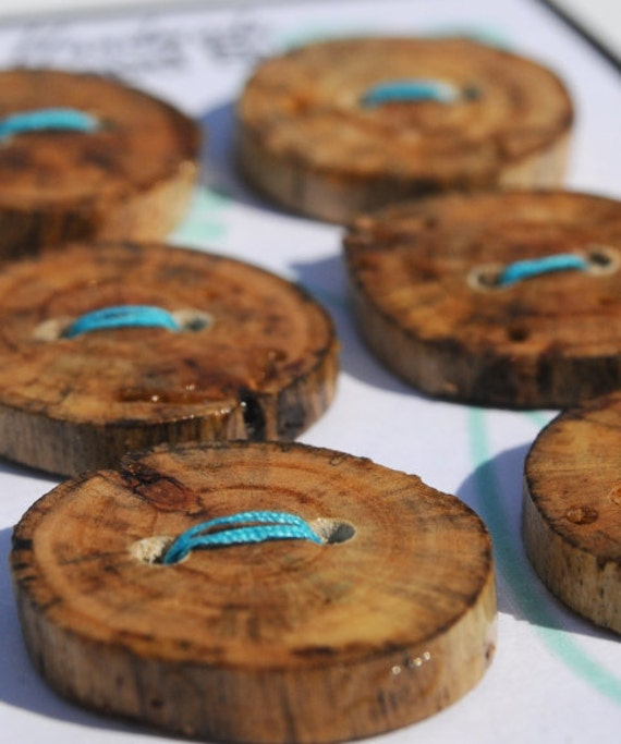 Handmade Wooden Button, Six 1.25 inch Drift Wood Buttons for Knitting, Sewing and Crafts, Drifftwood Button Supplies