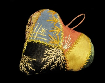 MercurysMoon-Antique Crazy Quilt,Heart, Fancy Embroidery Silk & Velvet  Pin Cushion -Folk Art