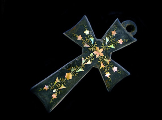 Antique Cross 1800's Ornate Inlay, Detailed Beautiful