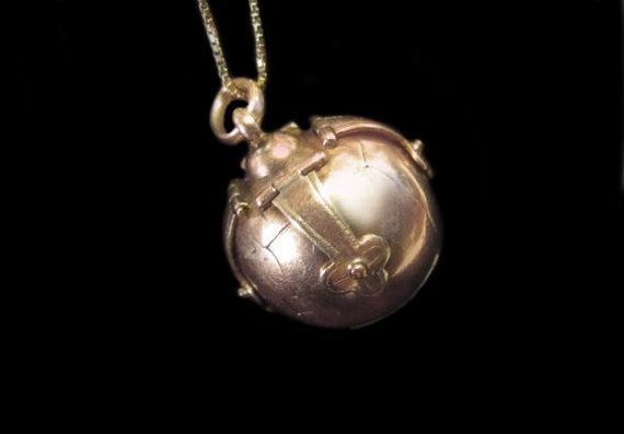 Antique Masonic Orb-9K Rose Gold & Sterling-Fob,Pendant-Masons