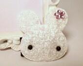 Soft Plush Bunny Embellished 40mm Snap Clip