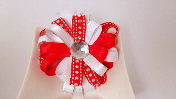 Red and White - Polka Dot - Bling-  Ribbon Loopy Flower Hair Clip