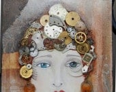 "Time is a Healer - 6""x12"" Mixed Media Collage featuring vintage watch parts"