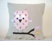 Owl cushion cover, pink woodland, free motion applique, Amy Butler cotton and linen. 40cm / 16""