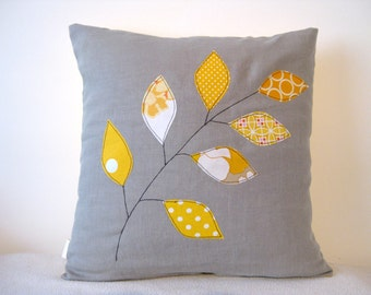 "Cushion cover, yellow spring leaves on a branch, free motion applique, grey linen, cotton, 16"" / 40cm."