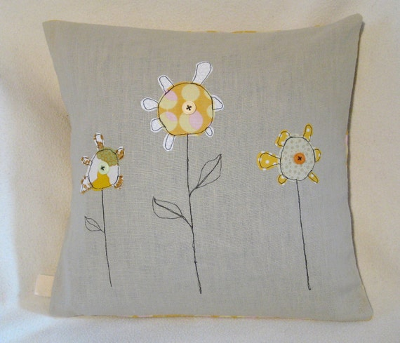 """Cushion cover, yellow flowers - children's drawing, free motion applique, Amy Butler, 16"""" / 40cm"""