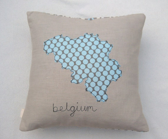 """Map of Belgium cushion cover, free motion applique, Amy Butler cotton and linen. 40cm / 16"""""""