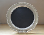 Chalkboard Rustic Silverplate 15 inch Magnetic silver charger Tray repurposed vintage upcycled