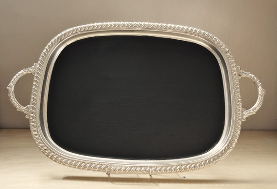 Magnetic Chalkboard Silver Tray Rectangular 22.5 x 14 inches repurposed vintage upcycled