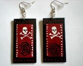 Red on Black Skull and Crossbones painted wood earrings