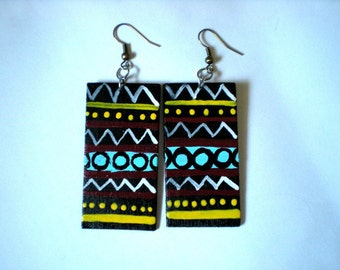 Rasta Inspired Wood Earrings
