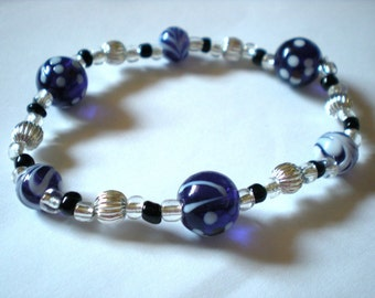 Purple, Black and Silver Beaded Bracelet