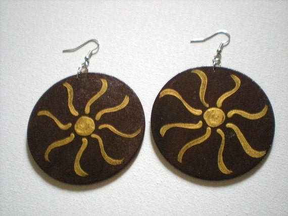 Large handpainted wood earrings with sun design