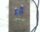 iPhone Case with Embroidered Texas Bluebonnets on Felted Wool