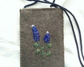 iPhone Case Embroidered with Texas Bluebonnets on Felted Wool