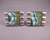 Vintage Marbled Glass Cuff Links Retro Steampunk Lounge