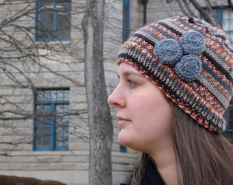 The Bonnie Hat - striped browns and grays