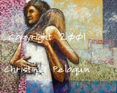 Forgiveness- Print of Mixed Media Fabric and Paper Collage Drawing/ Painting by Christine Peloquin