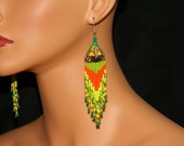 "Native American ""Grass Dancer No.1"" Beaded Earrings Lakota Charm EXCLUSIVE"