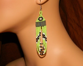 Native American Beaded Light Green with Black and Silver Loops