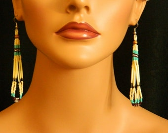 Native American Quill and Cream/Brown/Turquoise Beaded Triple Loop Earrings