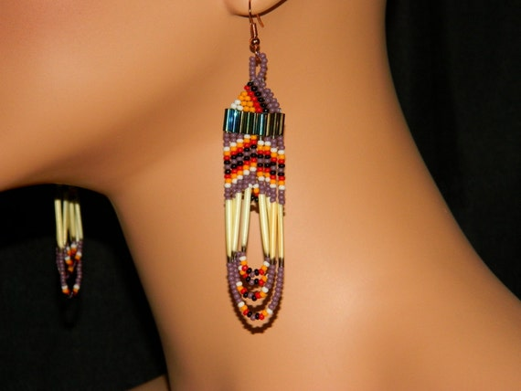 """Native American Beaded """"Indian Corn"""" Quill Loops"""