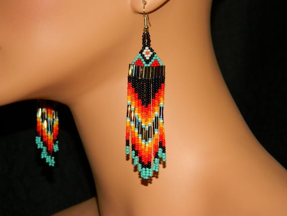 Native American Beautiful FireSky Dangle Beaded Earrings with Red and White Top